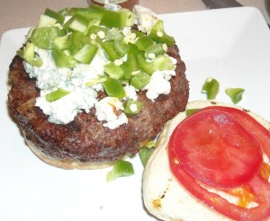 1lb Juicy Lucy with Blue Cheese and Jalapeno
